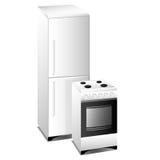 Oven. Fridge. Illustrations: Household appliances  (Oven, Fridge Royalty Free Stock Photo
