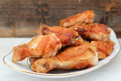 Oven fried chicken legs. Oven fried chicken drumsticks with spices royalty free stock photos