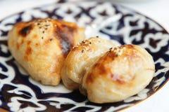 Oven-gebraden samosa, Oezbekistaans voedsel stock foto's