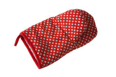 Oven Glove. Red Oven Glove Isolated On White Background Stock Photo