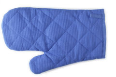 Oven glove. Blue oven glove on white background Stock Photos
