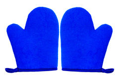 Oven glove mitt blue color and isolated on white background Royalty Free Stock Photos