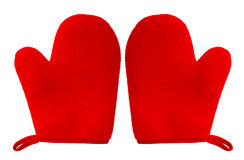 Oven glove mitt red color isolated on white background. Double oven glove mitt red color and isolated on white background Royalty Free Stock Image