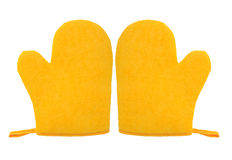 Oven glove mitt yellow color isolated on white background Stock Photo