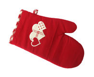 Oven glove with three hearts of love. An oven glove, or oven mitt, is a insulated mitten usually worn in the kitchen to protect the wearer's hand from hot Stock Photography
