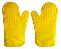 Oven Gloves Yellow Imagen de archivo libre de regalías