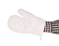 Oven gray glove on hand. Royalty Free Stock Image