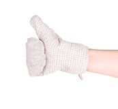 Oven gray glove on hand. Royalty Free Stock Photography