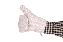 Oven gray glove on hand. Stock Image