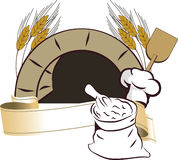 Oven. Illustration of an oven with grain and ribbon Stock Images