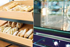 Oven and loaves of bread on shelf. Oven and loaves of bread on a shelf in a bakery stock photo