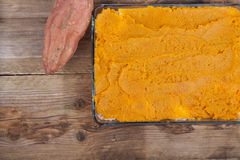 Oven meal with sauerkraut and sweet potato Royalty Free Stock Image