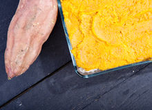 Oven meal with sauerkraut and sweet potato Stock Images