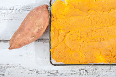 Oven meal with sauerkraut and sweet potato Royalty Free Stock Photography
