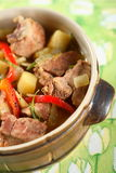 Oven meat with vegetables Royalty Free Stock Photos