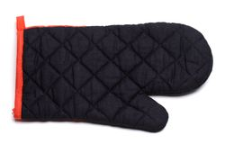 Oven mitt. A black oven mitt on a white background stock photography