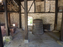 Oven and old barrel in the distillery Dryanovo Monastery Royalty Free Stock Images