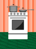 Oven. Pots and pans on the stove on the orange background Wallpapers vector illustration