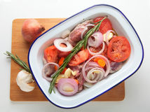 Oven ready kleftiko high angle Stock Photos