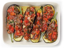 Oven ready stuffed aubergines Stock Photo