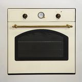 Oven. Retro style beige oven with brass details Royalty Free Stock Image