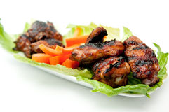 Oven roasted bbq chicken wings healthy baked instead of fried. Oven  roasted bbq chicken wings healthy baked instead of fried Stock Images