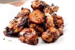 Oven roasted chicken wings. Beautiful oven roasted chicken wings with barbeque sauce Royalty Free Stock Photography