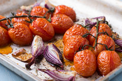 Oven roasted onions and tomatoes Royalty Free Stock Photos