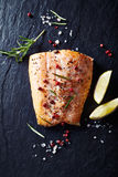 Oven-roasted salmon fillet with spices Royalty Free Stock Image
