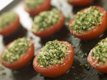 Oven Roasted Tomatoes with a Provencale Crust stock images