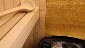 Oven in sauna stock footage