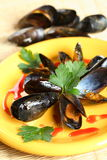 Oven shellfish on the plate Stock Photo