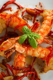 Oven shrimps with chili Stock Photography
