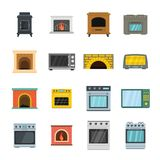Oven stove furnace fireplace icons set, flat style. Oven stove furnace fireplace icons set. Flat illustration of 16 oven stove furnace fireplace vector icons for Royalty Free Stock Images