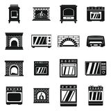 Oven stove fireplace icons set, simple style. Oven stove furnace fireplace icons set. Simple illustration of 16 oven stove furnace fireplace vector icons for web Royalty Free Stock Photography