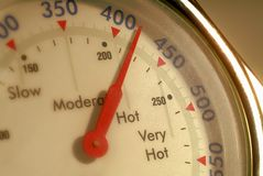 Oven temperature guage. An  oven temperature gauge close up Stock Photos