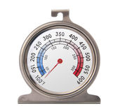 Oven Thermometer. Isolated front picture of an oven thermometer Royalty Free Stock Images