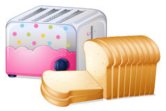 An oven toaster and slices of breads Stock Image