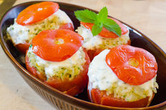 Oven tomato stuffed with mince meat Stock Image