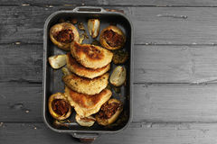 Oven tray with cutlets above view Royalty Free Stock Image