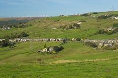 Ovenden en het windlandbouwbedrijf Royalty-vrije Stock Afbeeldingen
