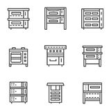 Ovens simple line icons set Royalty Free Stock Image