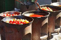 Ovens with tatar cooking on outdoor cafe Stock Image