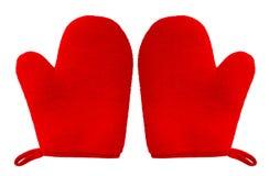 Ovenwantmitt rode die kleur op witte achtergrond wordt geïsoleerd Royalty-vrije Stock Afbeelding