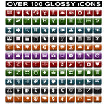 Over 100 Glossy Icons. Over 100 Square glossy various web related icons royalty free illustration