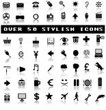 Over 50 Stylish Icons with Shadow Reflections stock illustration