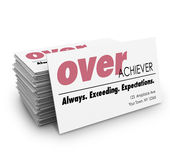 Over Acheiver Words Business Cards Always Exceeding Expectations Stock Images