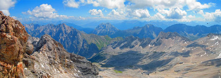 Over the Alps. Looking over the Bavarian Alps from top of the Zugspitze mountain in Germany stock photography