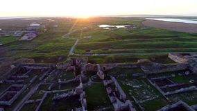 Over the archaeological site stock footage