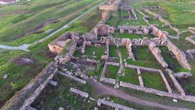 Over the archaeological site stock video